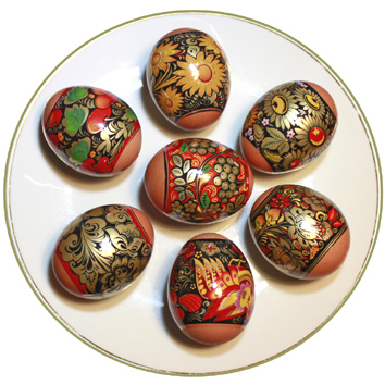 Decorations thermocollantes pour des oeufs de Paques , Hohloma